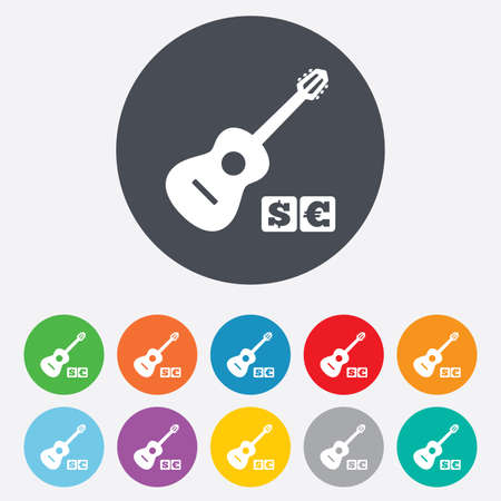 Acoustic guitar sign icon. Paid music symbol. Round colorful 11 buttons.