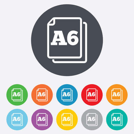 a6: Paper size A6 standard icon. File document symbol. Round colorful 11 buttons.