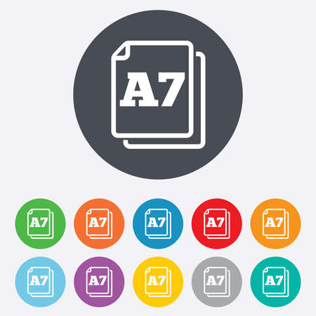 a7: Paper size A7 standard icon. File document symbol. Round colorful 11 buttons.