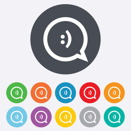 Chat sign icon. Speech bubble with smile symbol. Communication chat bubbles. Round colorful 11 buttons.  Vector