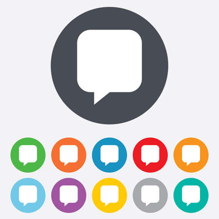 Chat sign icon. Speech bubble symbol. Communication chat bubbles. Round colourful 11 buttons. Vector Vector