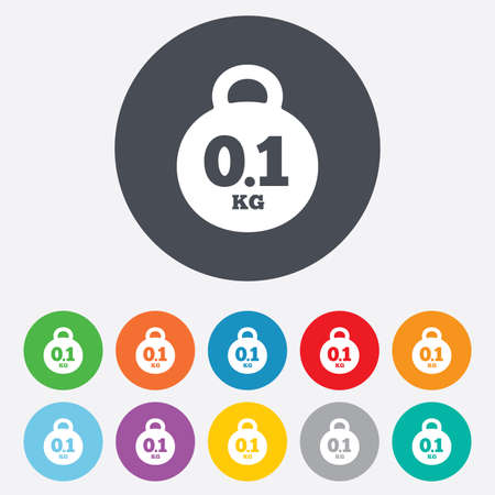 kg: Weight sign icon. 0.1 kilogram (kg). Envelope mail weight. Round colourful 11 buttons. Vector