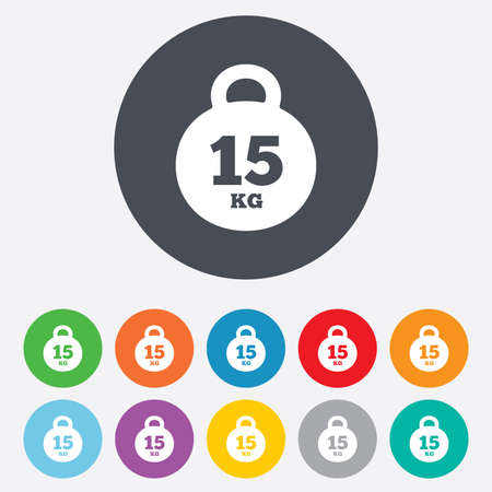 kg: Weight sign icon. 15 kilogram (kg). Sport symbol. Fitness. Round colourful 11 buttons. Vector