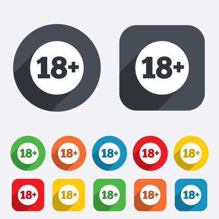 18 plus years old sign. Adults content icon. Circles and rounded squares 12 buttons. photo