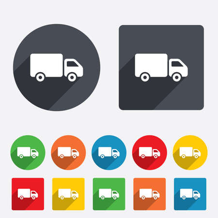 courier delivery: Delivery truck sign icon. Cargo van symbol. Circles and rounded squares 12 buttons. Stock Photo