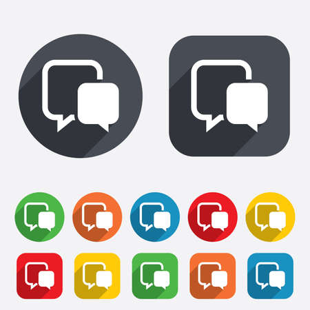 Chat sign icon. Speech bubble symbol. Communication chat bubble. Circles and rounded squares 12 buttons. photo