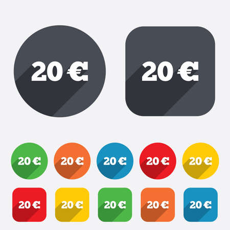 eur: 20 Euro sign icon. EUR currency symbol. Money label. Circles and rounded squares 12 buttons.