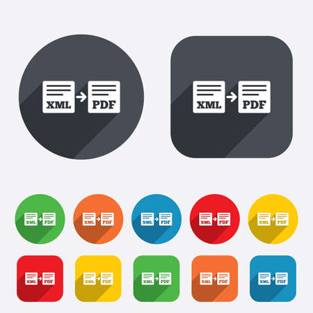 xml: Export XML to PDF icon. File document symbol. Circles and rounded squares 12 buttons. Stock Photo