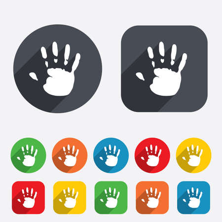 Hand print sign icon. Stop symbol. Circles and rounded squares 12 buttons. photo