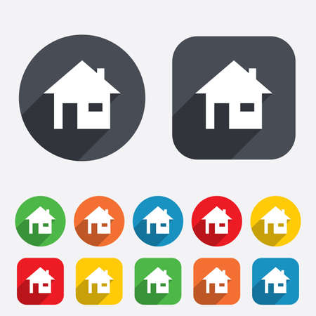 Home sign icon. Main page button. Navigation symbol. Circles and rounded squares 12 buttons. photo