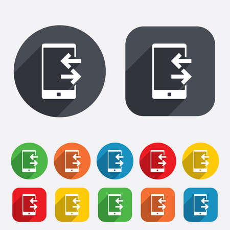 outcoming: Incoming and outcoming calls sign icon. Smartphone symbol. Circles and rounded squares 12 buttons.