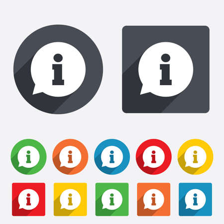 help: Information sign icon. Info speech bubble symbol. Circles and rounded squares 12 buttons. Stock Photo