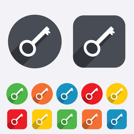 Key sign icon. Unlock tool symbol. Circles and rounded squares 12 buttons. photo