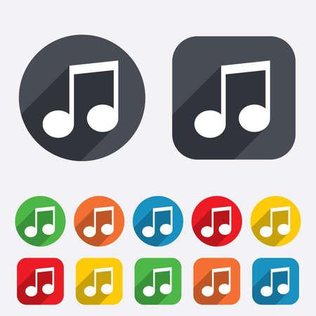 nota musical: Nota de la música icono de la muestra. Símbolo musical. Los círculos y cuadrados redondeados 12 botones.