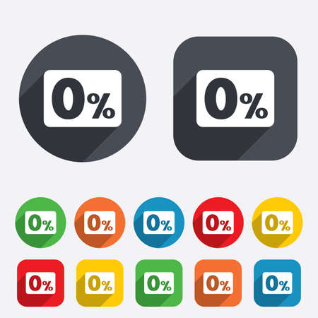 Zero percent sign icon. Zero credit symbol. Best offer. Circles and rounded squares 12 buttons. photo
