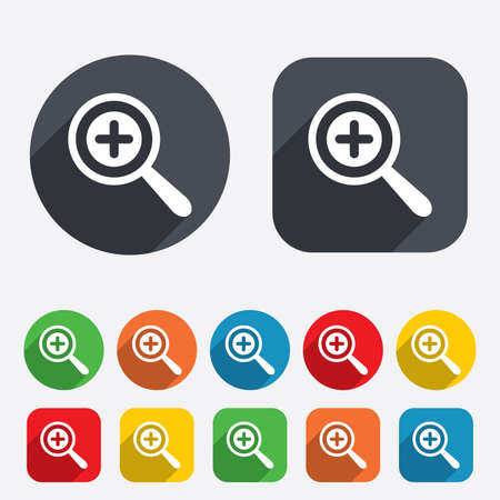 Magnifier glass sign icon. Zoom tool button. Navigation search symbol. Circles and rounded squares 12 buttons. photo