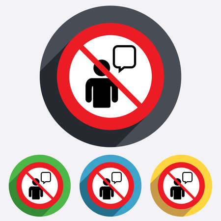 no talking: No Chat sign icon. Speech bubble symbol. Chat bubble with human. Do not talk. Red circle prohibition sign. Stop flat symbol.