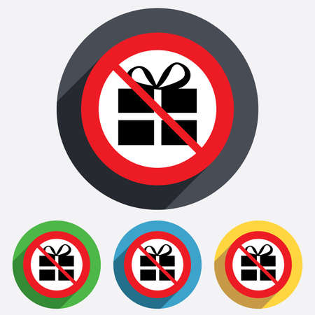No Gift box sign icon. Present symbol. Red circle prohibition sign. Stop flat symbol. photo