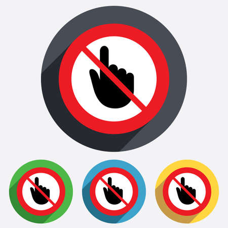 do not touch: Do not touch. Hand cursor sign icon. Hand pointer symbol. Red circle prohibition sign. Stop flat symbol.