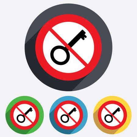not open: Non aprire. Icona segno Key. Sbloccare simbolo strumento. Red cerchio proibizione segno. Smettere simbolo piatta.