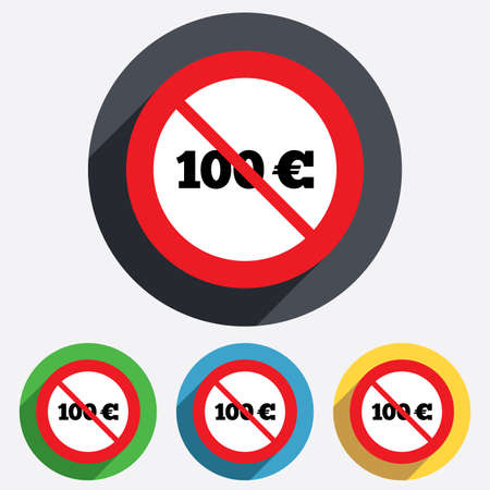eur: Not allowed 100 Euro sign icon. EUR currency symbol. Money label. Red circle prohibition sign. Stop flat symbol.