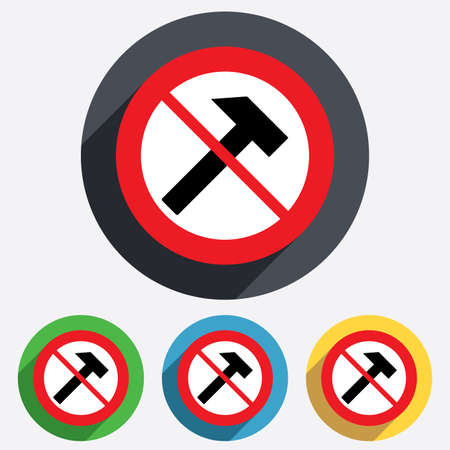 Do not repair. Hammer sign icon. Repair service symbol. Red circle prohibition sign. Stop flat symbol. photo