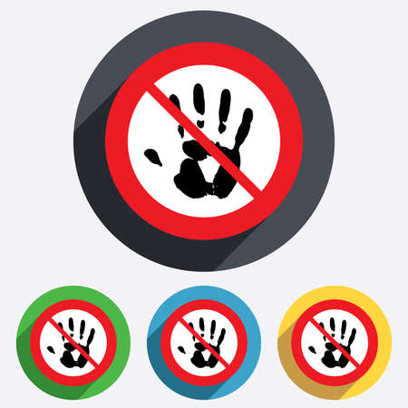 do not touch: Do not touch. Hand print sign icon. Stop symbol. Red circle prohibition sign. Stop flat symbol.