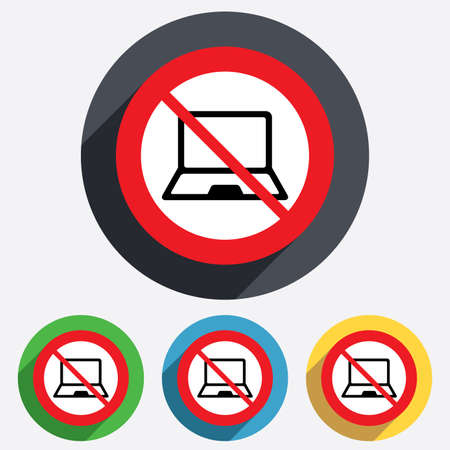 No Laptop sign icon. Notebook pc symbol. Red circle prohibition sign. Stop flat symbol. photo