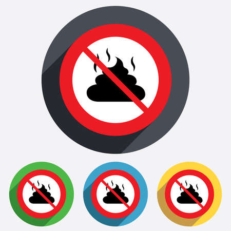feces: No Feces sign icon. Clean up after pets symbol. Put it in the bag. Red circle prohibition sign. Stop flat symbol.