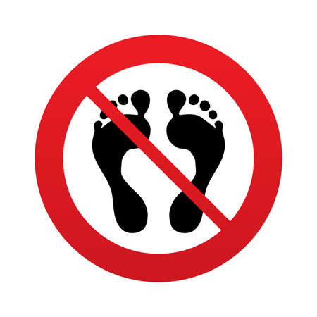 Human footprint sign icon. No Barefoot symbol. Foot silhouette. Red prohibition sign. Stop symbol.