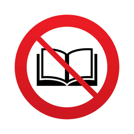 Don`t read. Book sign icon. Open book symbol. Red prohibition sign. Stop symbol. photo