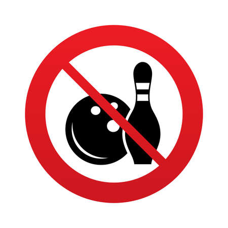 Bowling game sign icon. Ball with pin skittle symbol. Red prohibition sign. Stop symbol.