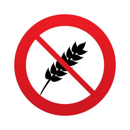 No Gluten free sign icon. No gluten symbol. Red prohibition sign. Stop symbol.