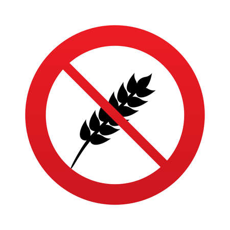 No Gluten free sign icon. No gluten symbol. Red prohibition sign. Stop symbol. photo
