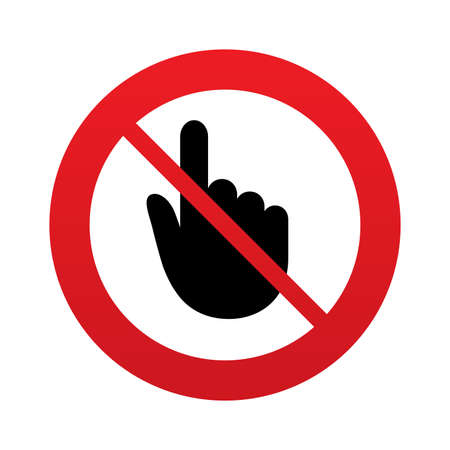 do not touch: No Hand cursor sign icon. Do not touch or press. Hand pointer symbol. Red prohibition sign. Stop symbol. Stock Photo