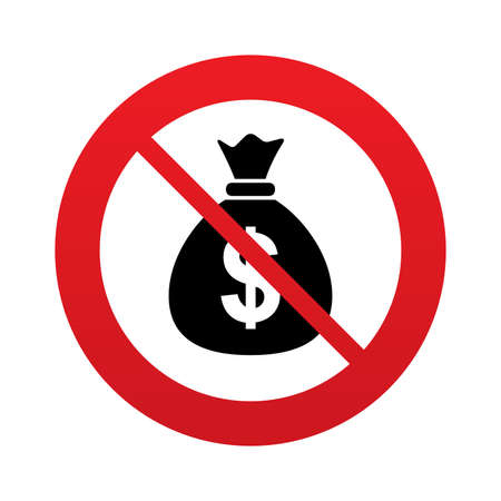 No Money bag sign icon. Dollar USD currency symbol. Red prohibition sign. Stop symbol. Stock Photo
