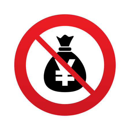 No Money bag sign icon. Yen JPY currency symbol. Red prohibition sign. Stop symbol. photo