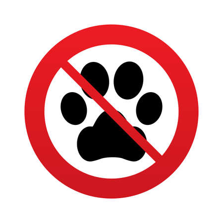 No Dog paw sign icon. Pets symbol. Red prohibition sign. Stop symbol. Stock Photo