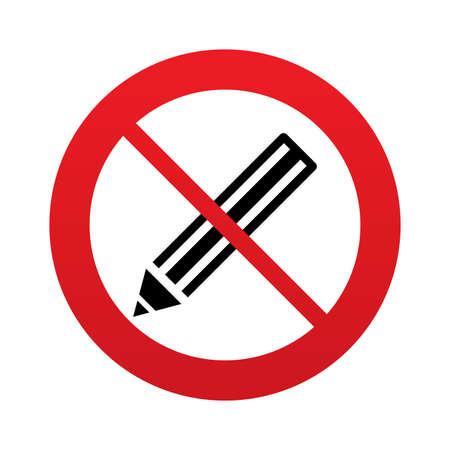 Aucun signe d'icône de crayon. Ne pas écrire. Modifier touche contenu. Panneau d'interdiction rouge. Arrêtez symbole. Banque d'images - 25833722
