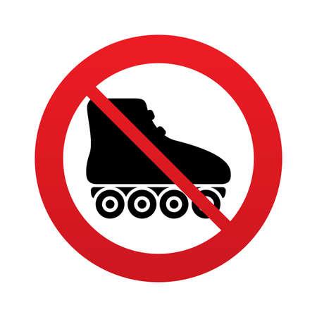 rollerblades: No Roller skates sign icon. Rollerblades symbol. Red prohibition sign. Stop symbol.