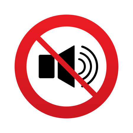 Speaker volume sign icon. No Sound symbol. Red prohibition sign. Stop symbol. photo