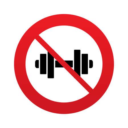 Kein Hantelsymbol. Fitness-Symbol. Red Verbotsschild. Stop-Symbol. Standard-Bild - 25833745