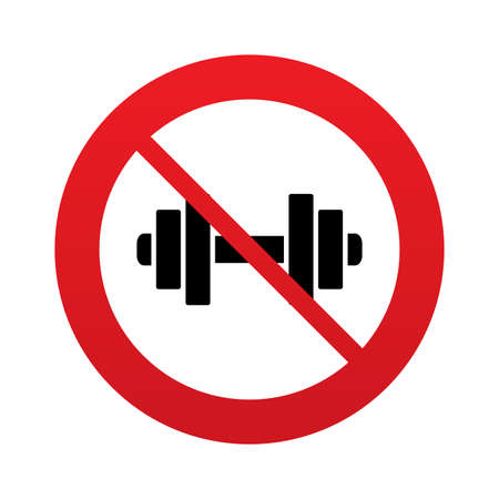 No Dumbbell sign icon. Fitness symbol. Red prohibition sign. Stop symbol.
