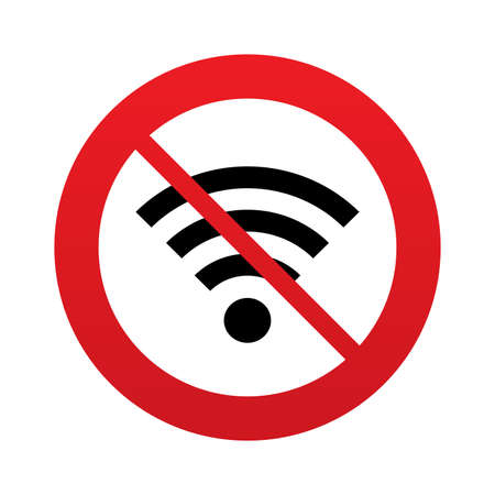 No Wifi sign. Wi-fi symbol. Wireless Network icon. Wifi zone. Red prohibition sign. Stop symbol. photo