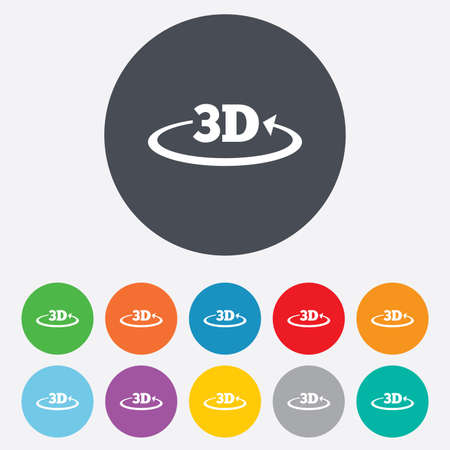 3D sign icon. 3D New technology symbol. Rotation arrow. Round colourful 11 buttons. Vector Illustration