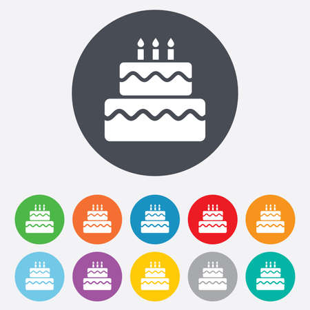 Birthday cake sign icon. Cake with burning candles symbol. Round colourful 11 buttons. Vector Illustration