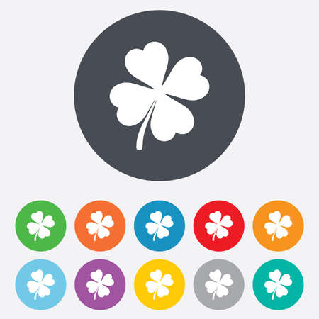clover buttons: Clover with four leaves sign icon. Saint Patrick symbol. Round colourful 11 buttons. Vector Illustration