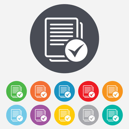 quality check: Text file sign icon. Check File document symbol. Round colourful 11 buttons. Vector