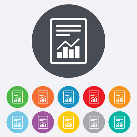 audit: Text file sign icon. Add File document with chart symbol. Accounting symbol. Round colourful 11 buttons. Vector