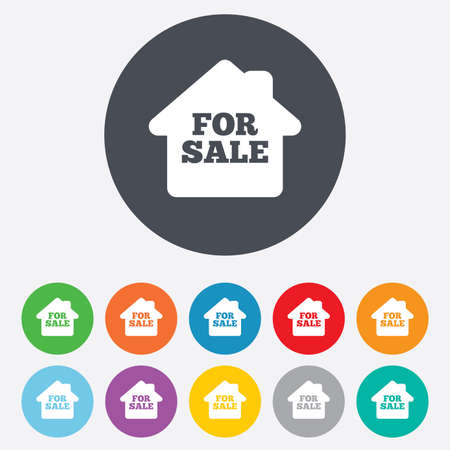 For sale sign icon. Real estate selling. Round colourful 11 buttons. Vector Vector